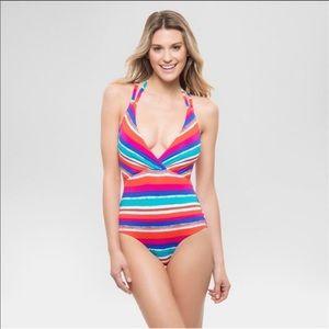Other - Striped Halter One Piece swim suit